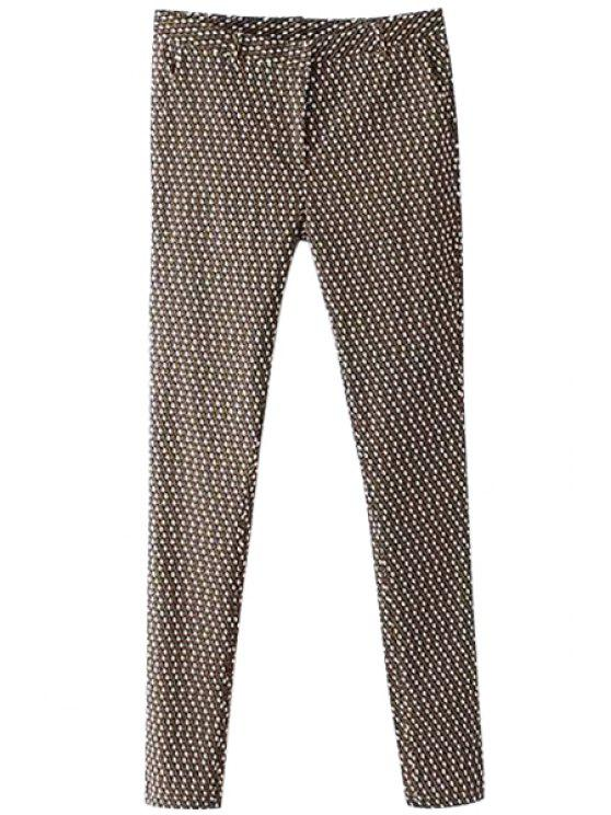 unique Argyle Print Zipper Fly Pants - COLORMIX S