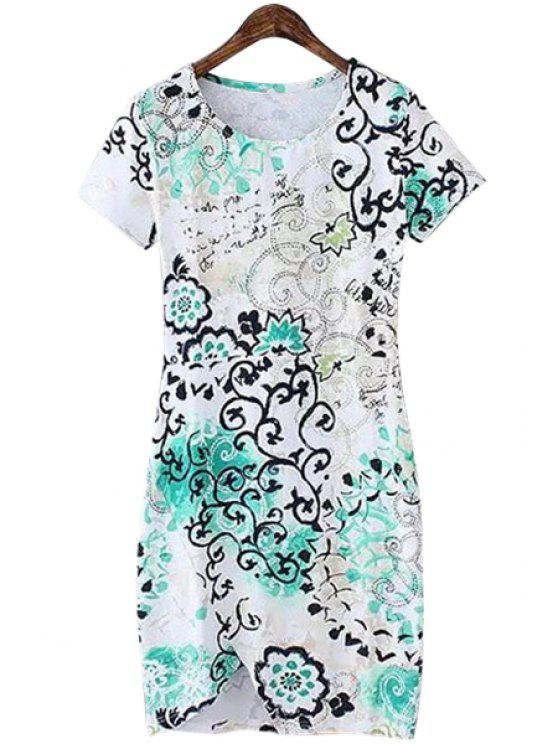 shop Print Color Block Slit Short Sleeve Dress - WHITE S