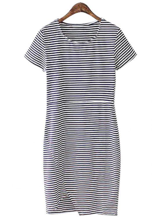 chic Stripe Slit Short Sleeve Dress - BLUE AND WHITE M