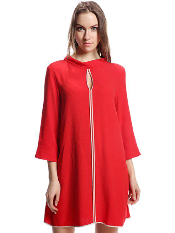 best Red 3/4 Sleeve Dress - RED S