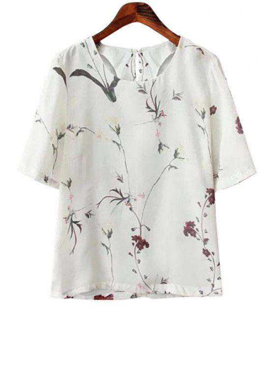 online Floral and Leaves Print T-Shirt - OFF-WHITE S