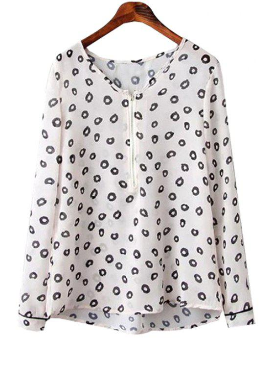 women's Black Round Print Long Sleeve Shirt - WHITE S