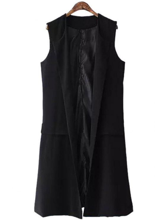 online Solid Color Side Slit Waistcoat - BLACK S