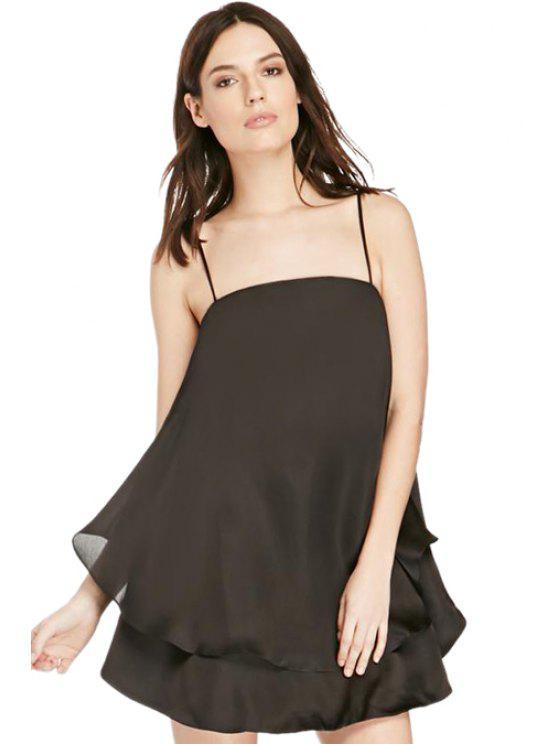 fashion Sexy Spaghetti Straps Solid Color Flouncing Women's Dress - BLACK S