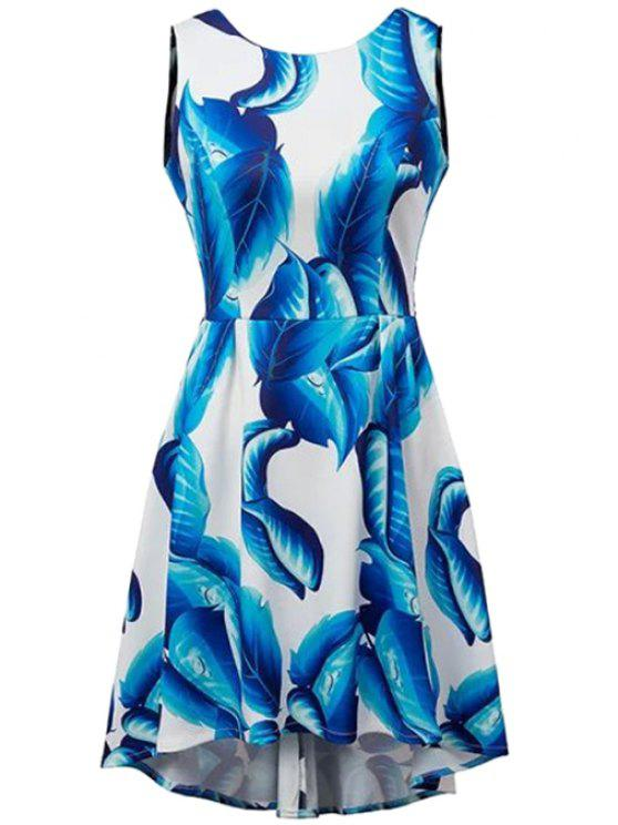 fancy Backless Blue Leaves Print Dress - BLUE AND WHITE S