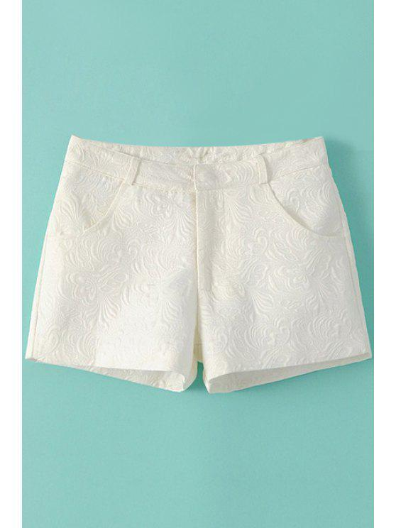 buy Solid Color Embossing Zipper Fly Shorts - WHITE S