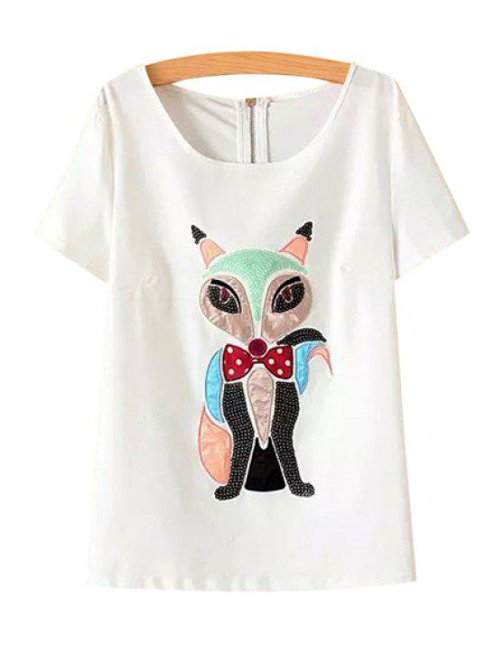 shop Fox Pattern Sequins T-Shirt - WHITE M