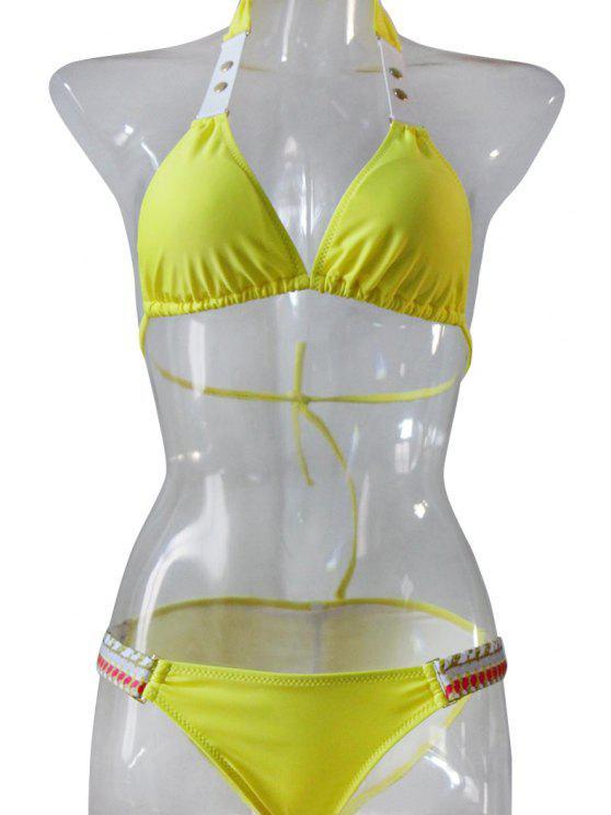 women's Push-Up Color Block Bikini Set - YELLOW S