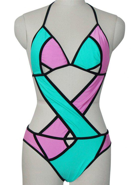 hot Halter Color Block One-Piece Swimwear - BLUE AND PINK S