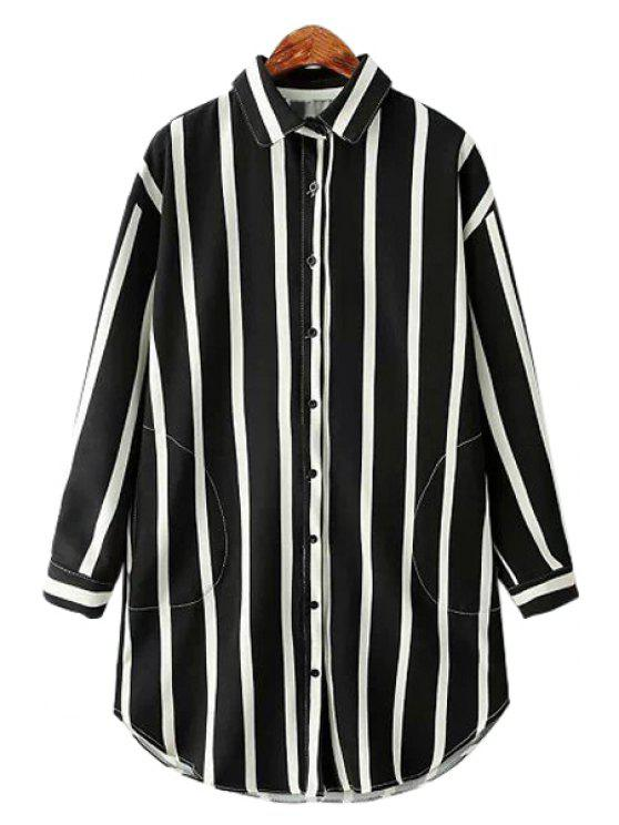 shop Stripe Color Block Pocket Long Sleeve Shirt - BLACK ONE SIZE(FIT SIZE XS TO M)