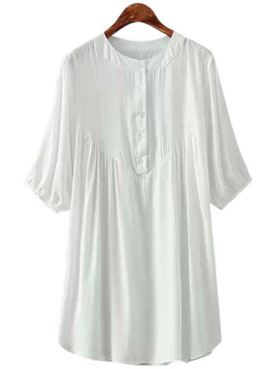 lady Solid Color Ruffle Half Sleeve Dress - WHITE ONE SIZE(FIT SIZE XS TO M)