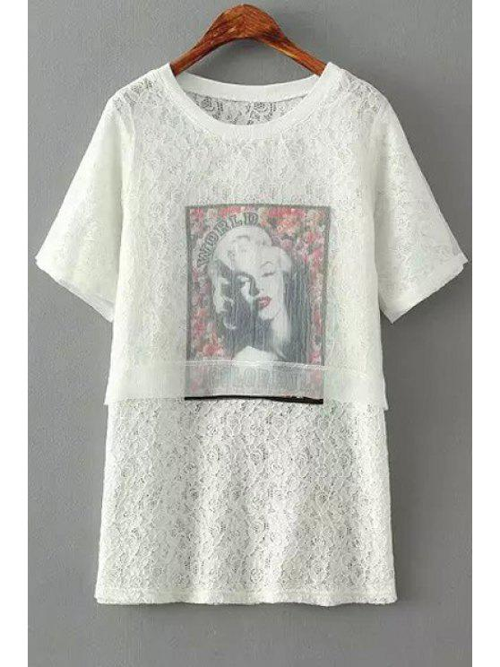 hot Figure Print Lace Short Sleeve Dress - WHITE ONE SIZE(FIT SIZE XS TO M)