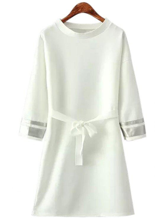 online Stripe Belt Long Sleeve Dress - WHITE ONE SIZE(FIT SIZE XS TO M)