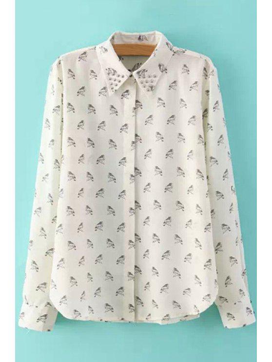 women Full Birds Print Long Sleeve Shirt - OFF-WHITE S
