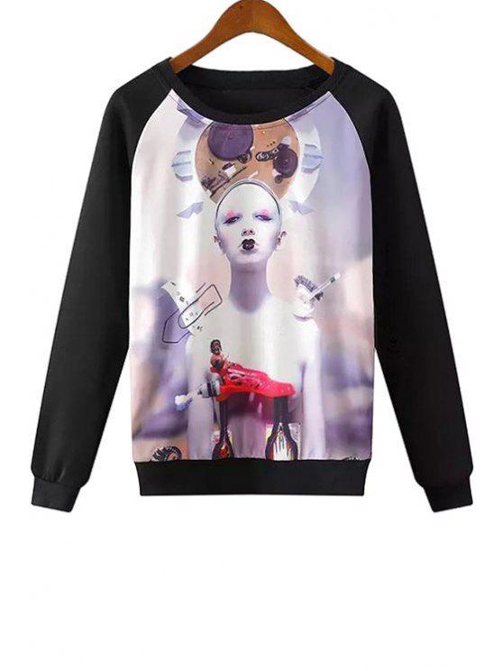 chic Colorful Girl Print Long Sleeve Sweatshirt - BLACK S