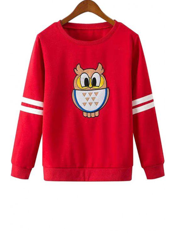 women's Jewel Neck Owl Pattern Sweatshirt - RED S