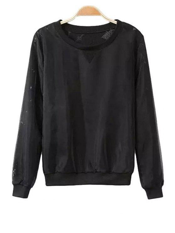 trendy Openwork Solid Color Lace Sweatshirt - BLACK S