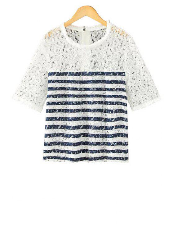 best Stripe Fringe Lace Short Sleeve T-Shirt - WHITE M