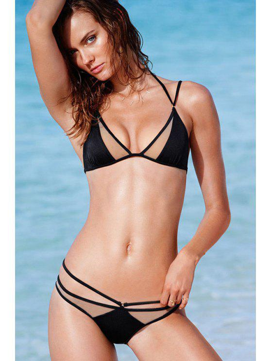 shops Black Voile Splicing Bikini Set - BLACK S