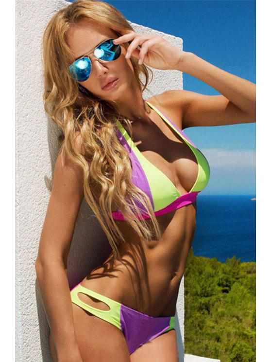 lady Halter Colorful Splicing Bikini Set - COLORMIX S
