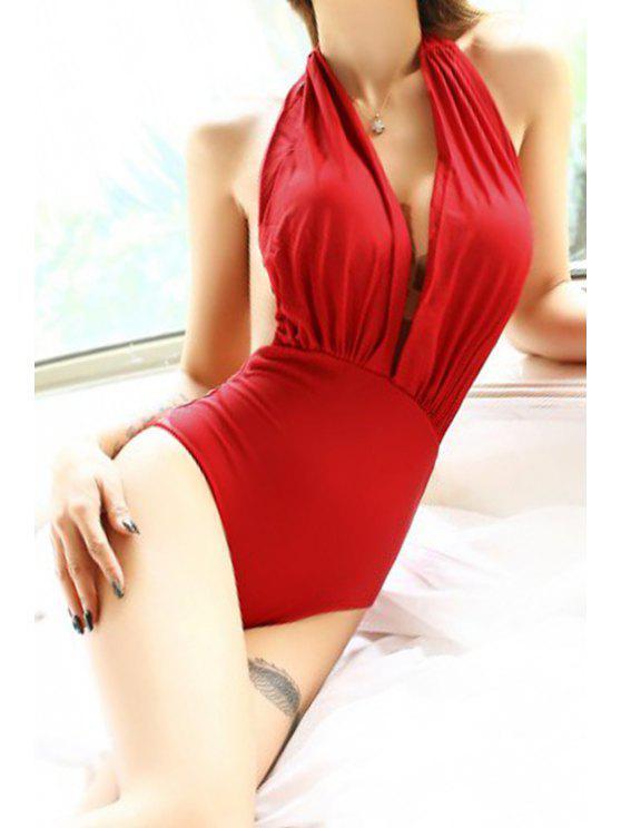 fancy Halterneck Red One-Piece Swimwear - RED S