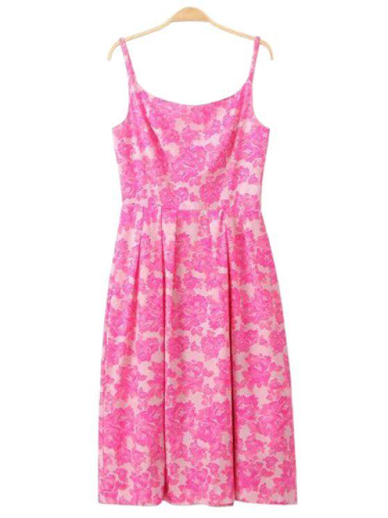 best Spaghetti Strap Pink Floral Print Dress - PINK XS