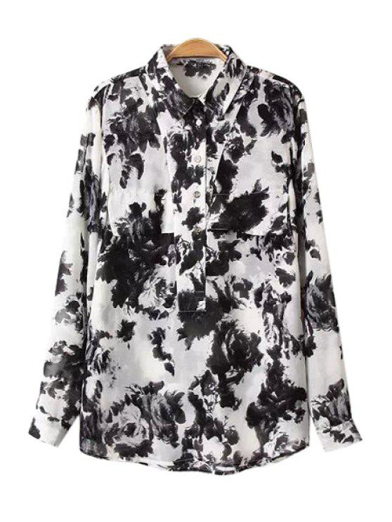 lady Ink Floral Print Long Sleeve Shirt - WHITE AND BLACK S
