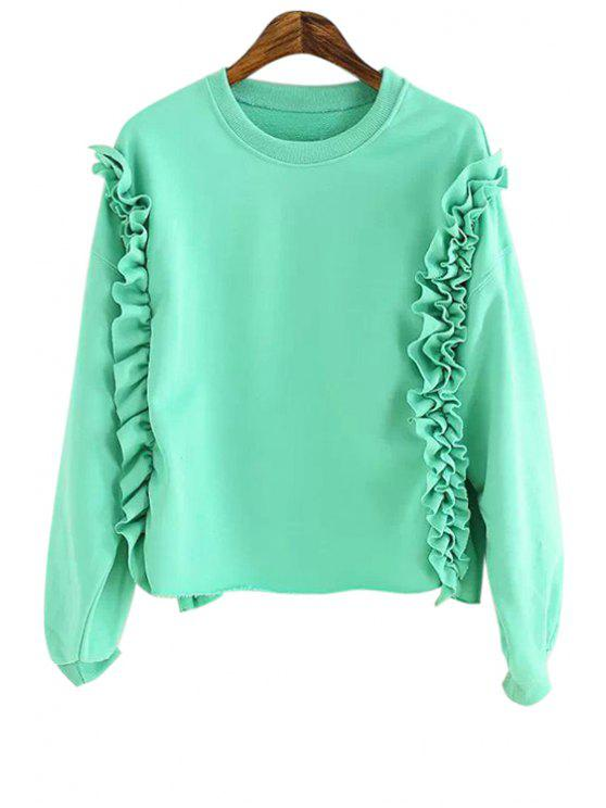 womens Flounce Splicing Solid Color Sweatshirt - GREEN ONE SIZE(FIT SIZE XS TO M)