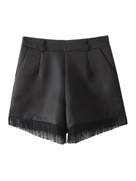 best Solid Color Fringe Splicing Shorts - BLACK S