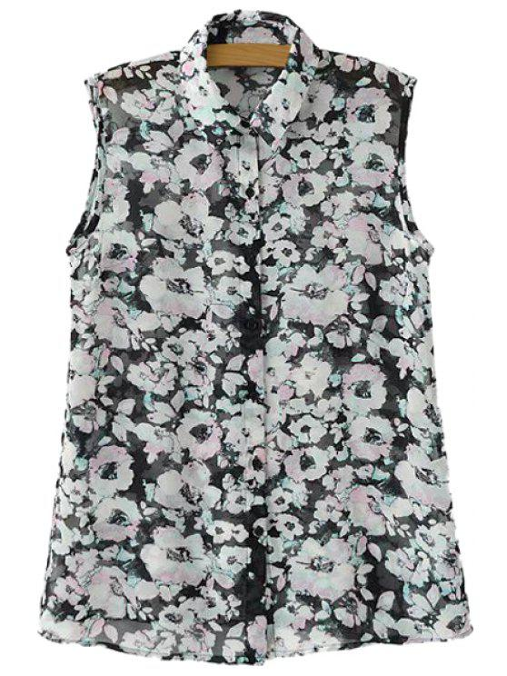 chic Floral Print Sleeveless Shirt - BLACK S