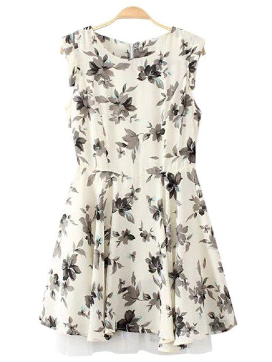 women's Black Floral Print Voile Splicing Dress - WHITE AND BLACK S