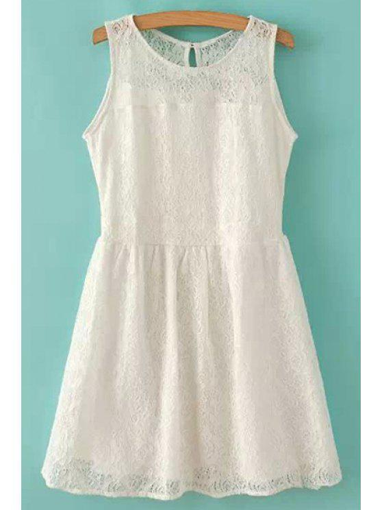 shops Lace Solid Color Sleeveless Dress - WHITE S