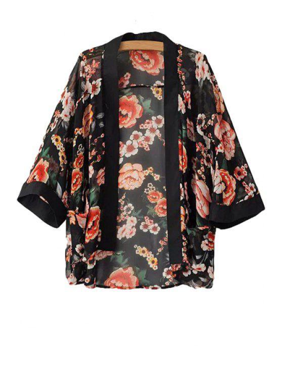 latest Collarless Floral Print Coat - BLACK S