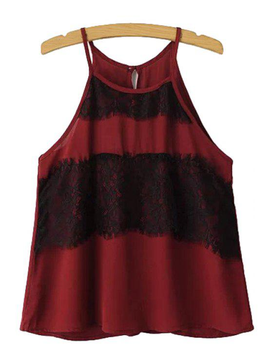 womens Lace Splicing Sleeveless Tank Top - RED S