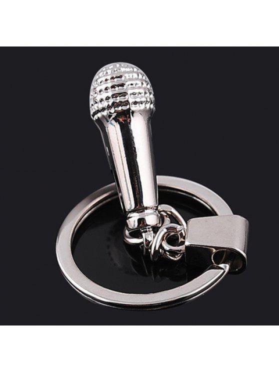 fancy Chic Microphone Shape Key Ring - SILVER