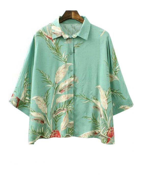 best Leaves Print 3/4 Sleeve Shirt - GREEN S