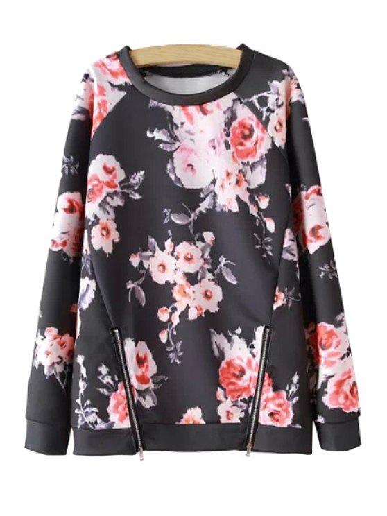 fashion Zipper Embellished Floral Print Sweatshirt - RED WITH BLACK S