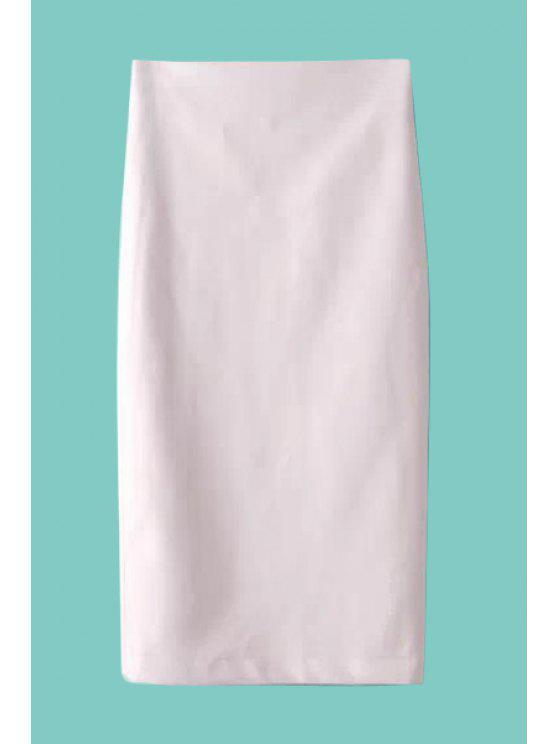 fancy Faux Leather Slit Long Skirt - WHITE M