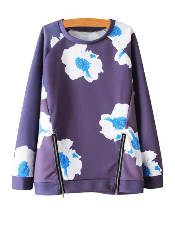 outfit White Blue Floral Print Long Sleeve Sweatshirt - BLUE S