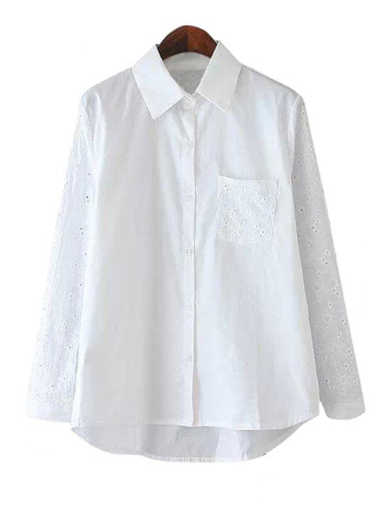women's Embroidery Solid Color Long Sleeve Shirt - WHITE ONE SIZE(FIT SIZE XS TO M)