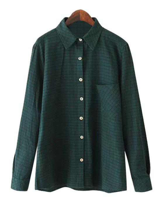 lady Green Plaid Long Sleeve Shirt - GREEN S