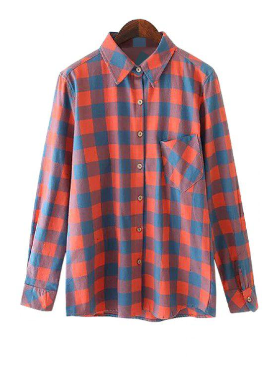 trendy Polo Collar Red Plaid Shirt - RED S