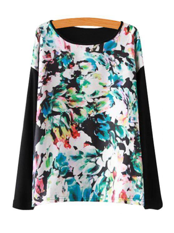 buy Floral Print Splicing T-Shirt - BLACK S