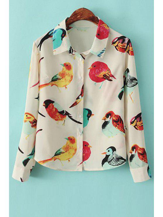 affordable Full Birds Print Long Sleeves Shirt - WARM WHITE LIGHT S