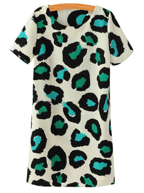chic Short Sleeves Leopard Print Dress - GREEN S