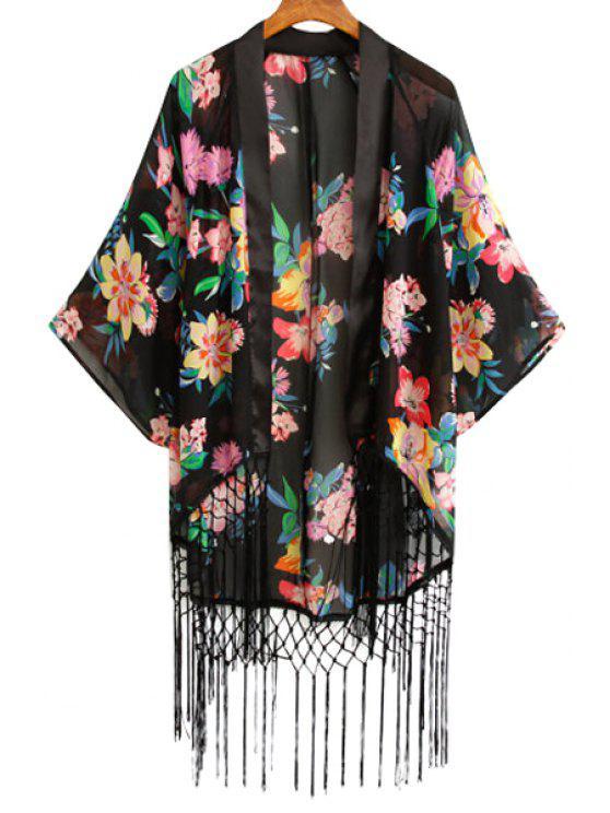 lady Floral Print Tassels Blouse - BLACK S