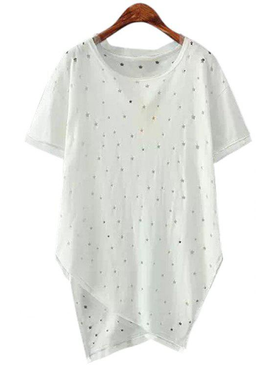 outfits Star Pattern Openwork Asymmetrical T-Shirt - WHITE ONE SIZE(FIT SIZE XS TO M)
