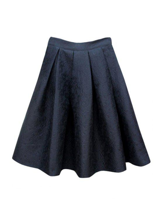 outfits Rose Pattern Solid Color Skirt - BLACK M