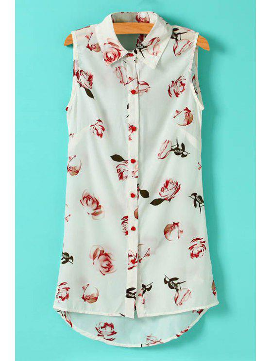 new Full Rose Print Sleeveless Shirt - WHITE S