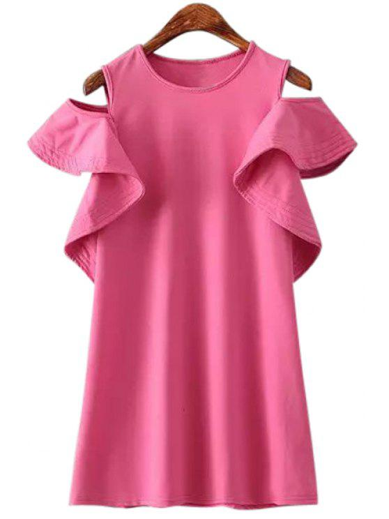 womens Off-The-Shoulder Flounce Splicing T-Shirt - PINK ONE SIZE(FIT SIZE XS TO M)